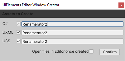 The create UI editor window template, about to click Confirm.